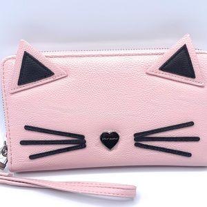 NWT Betsey Johnson Kitty Blush Wristlet/Wallet